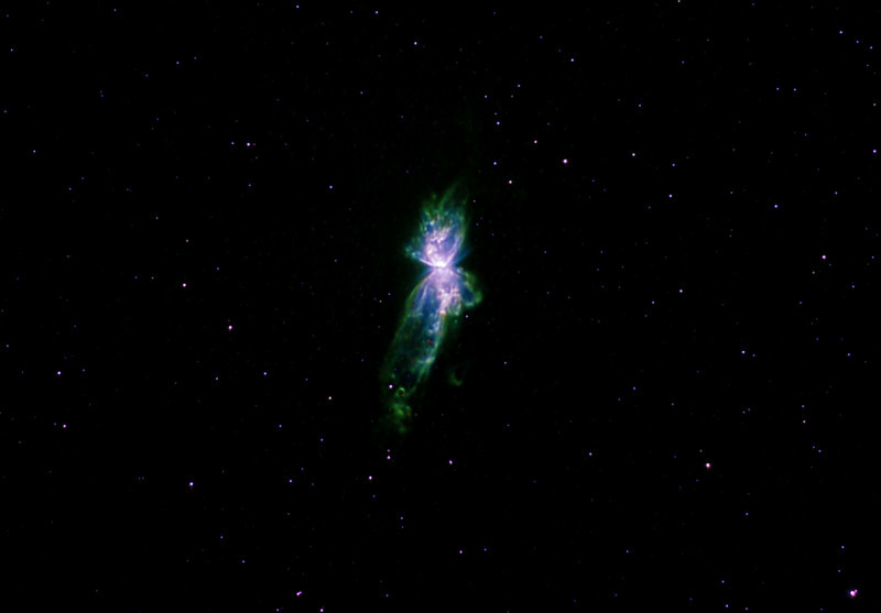 "NGC6302 Bug Nebula in colour mapped Narrowband<br /> Ha:SII:Ha:OIII   Ha 3nm 10hrs bin1; SII 1 hr; OIII 1 hr both bin2 <br /> Mapped as LRGB Ha 10 min subs, RGB 5min subs <br /> Taken on a Meade 12"" LX200R OTA, G11, ST10XME, at f6.7 (croped)<br /> Runner up, Fixed equipment catagory ASNSW South Pacific Star party Imaging Competition May 2009"