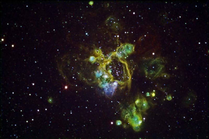 """NGC1935 Nebulae in Colour Mapped Narrowband<br /> Ha:SII:Ha:OIII  60:40:60:40min (10min subs). Ha bin 1. SII and OIII bin 2<br /> Taken on GRAS G15, PME, RCOS 10"""" OTA, ST8XME. AP0.67 FR"""