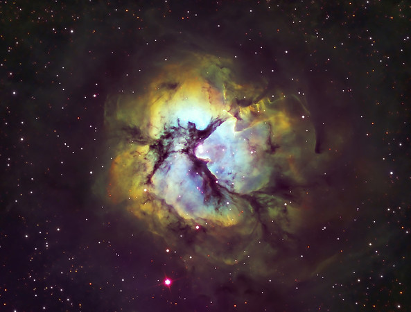 """M20 Nebula in Colour mapped Narrowband. Taken on an RCOS 10"""" RC Scope at f9, SBIG STXL6303E Camera and PME mount.at itelescopes Siding Spring Observatory. 13hrs of 3nm Ha, 40 min subs bin1, 4 hrs , 20min each of 3 nm SII and OIII 20min subs bin2. Processed with CCDstack, Star Tools and Photoshop"""