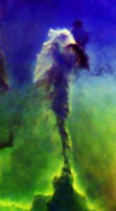 "Part of M16. ""Stella spire"" in Narrow band Ha:SII:Ha:OIII"