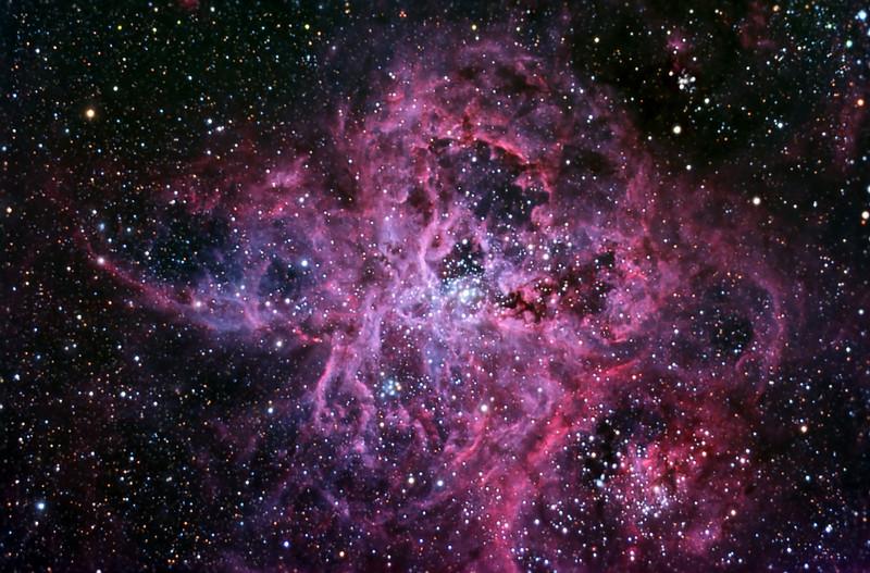 """NGC2070 Tarantula Nebula in LRGB<br /> LRGB  all 5min subs,  L 10hrs bin1: RGB 4 hrs ea bin2<br /> Taken on a Meade 12"""" LX200R OTA, G11, ST10XME, at f6.7"""