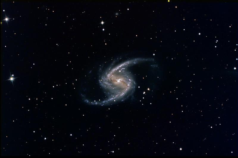 "NGC1365 Galaxy in LRVB (science filters)<br /> 100:30:40:50 mins (all 10min subs). L bin1 RVB bin2<br /> Taken on GRAS G15, PME, RCOS 10"" OTA, ST8XME. AP0.67 FR"