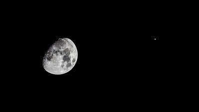 The Moon and Jupiter. If you look closely at jupiter you can see two of its moons: Ganymede and Io