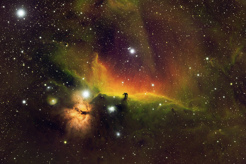 Horsehead and Flame Nebulae in Broad and Narrowband Combined