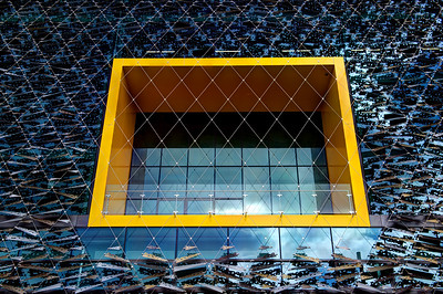 Yellow framed window. Auckland Harbor.