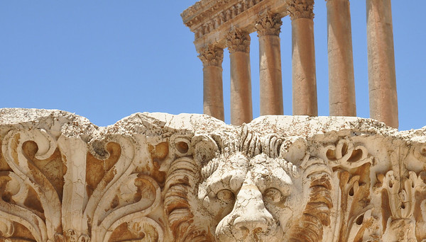 Baalbeck, The six standing columns are joined by an entablature decorated with a frieze of bulls and lions' heads connected by garlands
