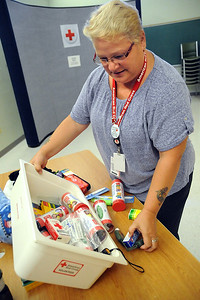 Linda Taylor,  a Red Cross volunteer from Lorain and leader for the pillowcase project, sorts through emergency preparedness items at the American Red Cross in Elyria on Aug. 12. STEVE MANHEIM/CHRONICLE