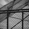 Monochrome baseball field fence, a study in line
