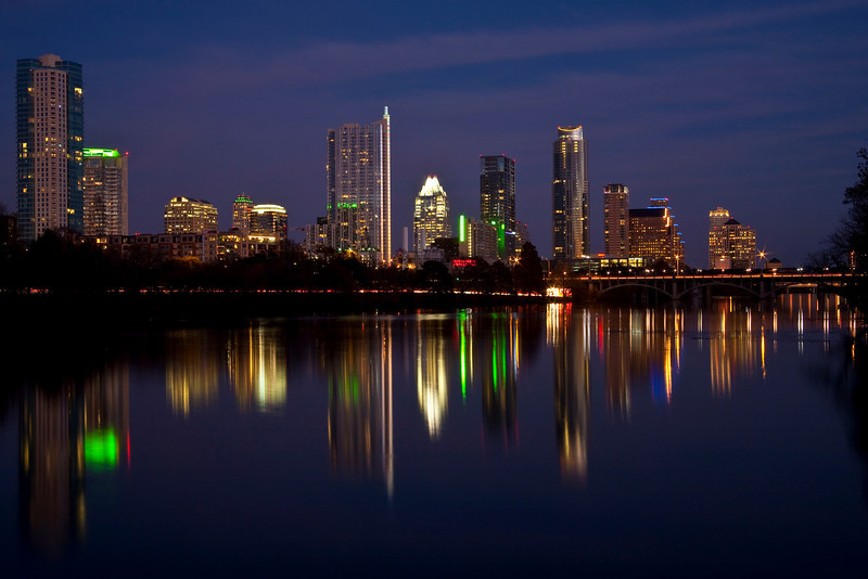 Austin Skyline And Ladybird Lake - Austin, Texas