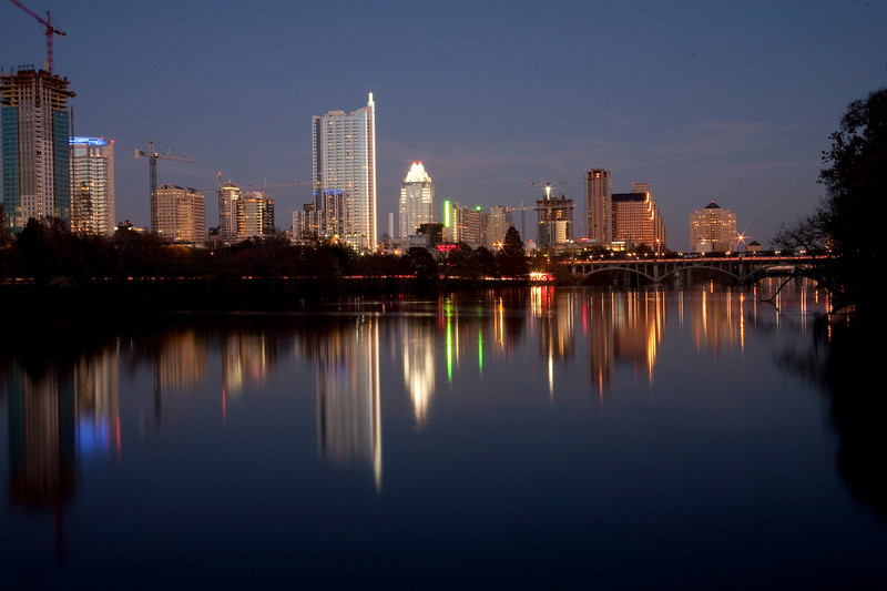 Lady Bird Lake And Austin Skyline