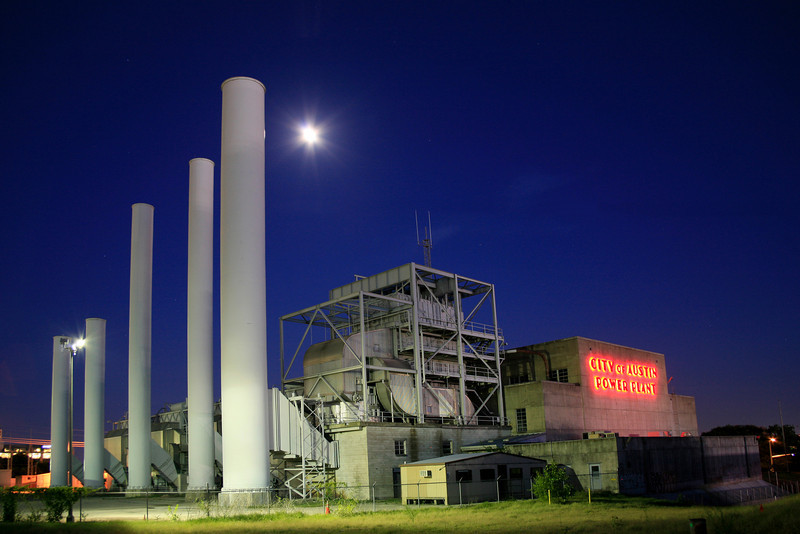 City Of Austin Power Plant In The Moonlight