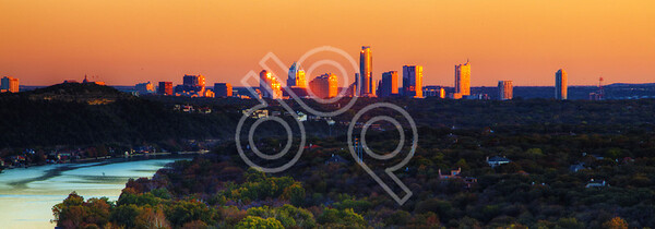Austin Skyline from Shepherd Mountain at Sunset