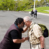 Here is Carl rubbing noses with Prince Davis from the Ngati Whatua tribe just outside the Auckland Museum