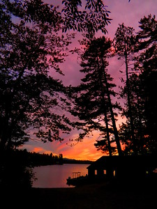 Sunset, Ampersand Bay, Lower Saranac Lake, 650pm, oct 1, 2015.