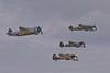 Republic P-47D Thunderbolt, Messerschmitt Bf 109 E-3, Supermarine Spitfire Mk.Vc, Hawker Hurricane Mk.XIIA.<br /> Photo © Carl Clark