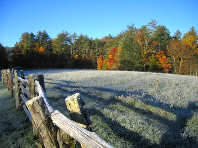 Frosty morning near Linville falls