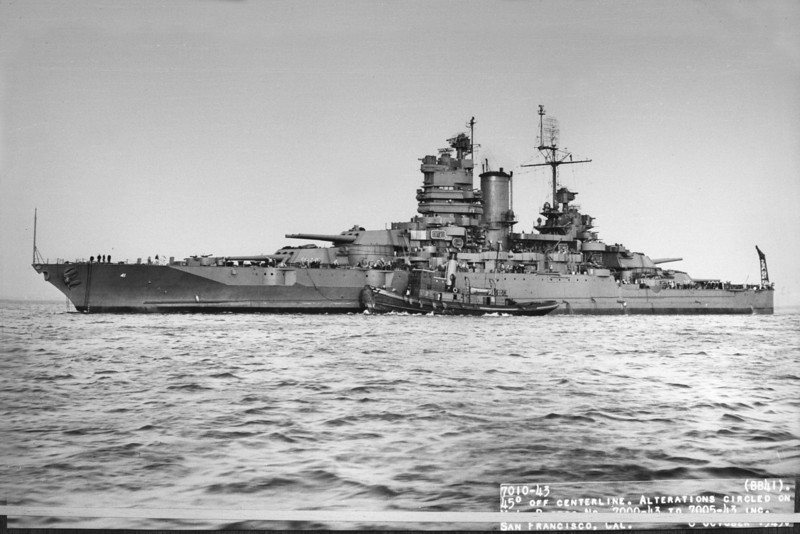 USS Mississippi (BB-41)<br /> <br /> Date: October 8 1943<br /> Location: San Francisco CA<br /> Source: William Clarke - National Archives