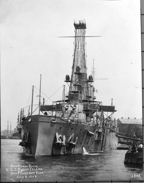 USS Rhode Island (BB-17)<br /> <br /> Date: July 8 1909<br /> Location: Navy Yard NY<br /> Source: William Clarke - National Archives