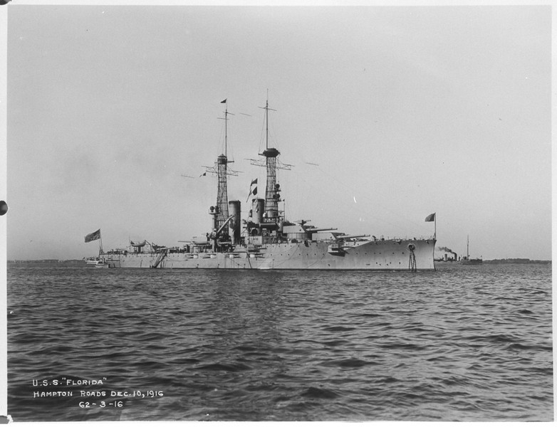 USS Florida (BB-30)<br /> <br /> Date: December 10 1916<br /> Location: Hampton Roads VA<br /> Source: William Clarke - National Archives