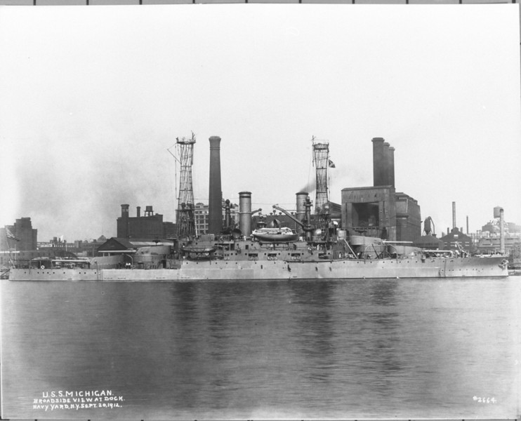 USS Michigan (BB-27)<br /> <br /> Date: September 20 1912<br /> Location: Navy Yard NY<br /> Source: William Clarke - National Archives