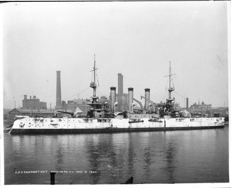 USS Connecticut (BB-18)<br /> <br /> Date: May 31 1906<br /> Location: Navy Yard NY<br /> Source: William Clarke - National Archives