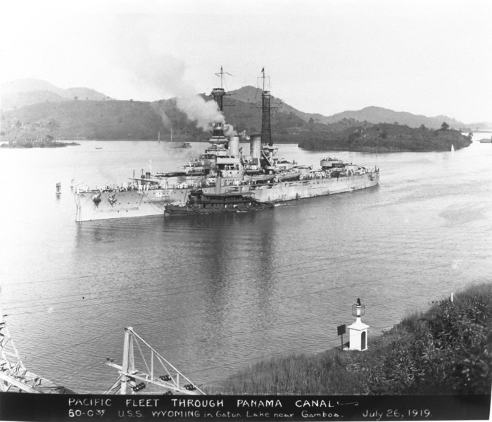USS Wyoming (BB-32)<br /> <br /> Date: July 26 1919<br /> Location: Panama Canal<br /> Source: William Clarke - National Archives