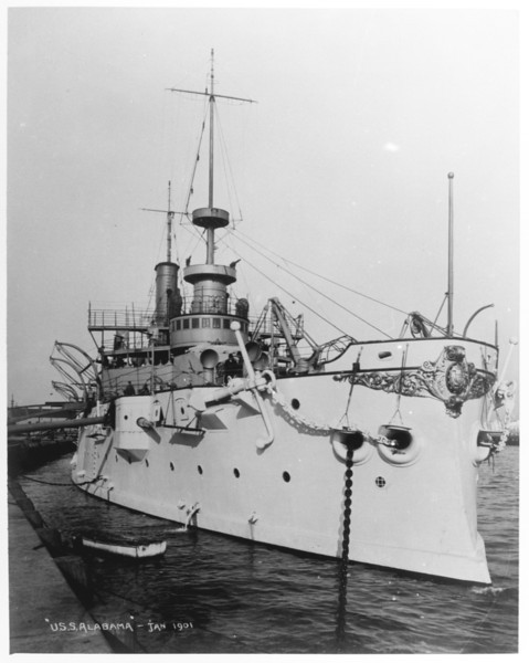 USS Alabama (BB-8)<br /> <br /> Date: January 1901<br /> Location: Navy Yard NY<br /> Source: William Clarke - National Archives