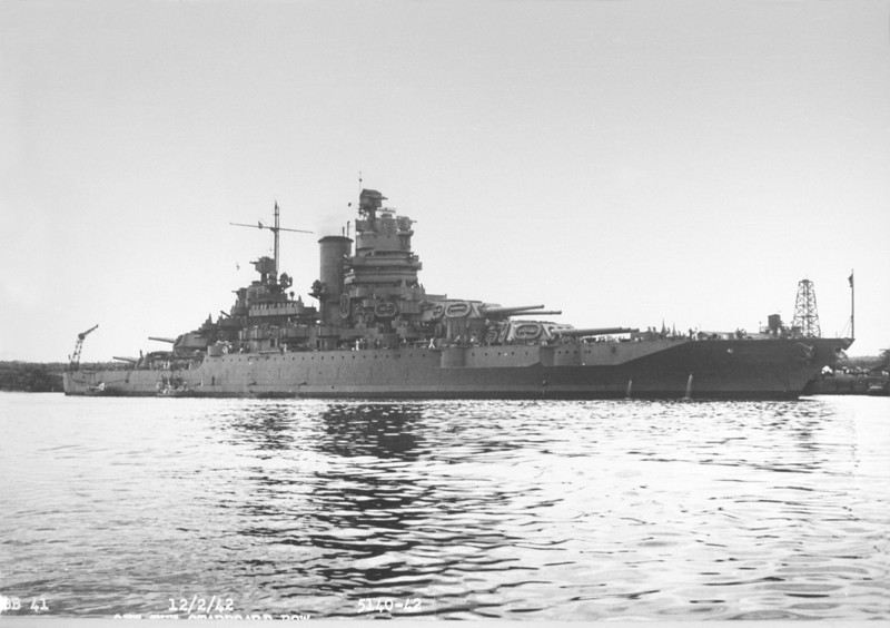 USS Mississippi (BB-41)<br /> <br /> Date: December 2 1942<br /> Location: Unknown<br /> Source: William Clarke - National Archives