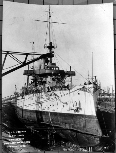 USS Virginia (BB-13)<br /> <br /> Date: February 26 1907<br /> Location: Navy Yard NY<br /> Source: William Clarke - National Archives