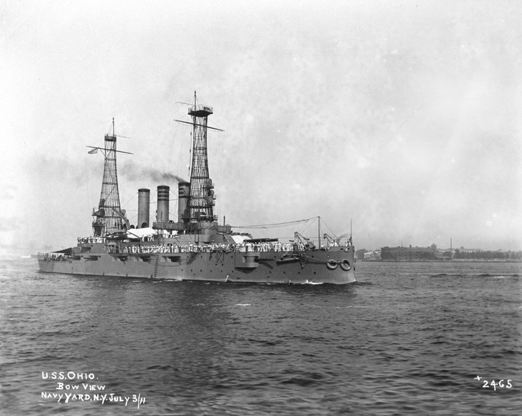 USS Ohio (BB-12)<br /> <br /> Date: July 3 1911<br /> Location: Navy Yard NY<br /> Source: William Clarke - National Archives