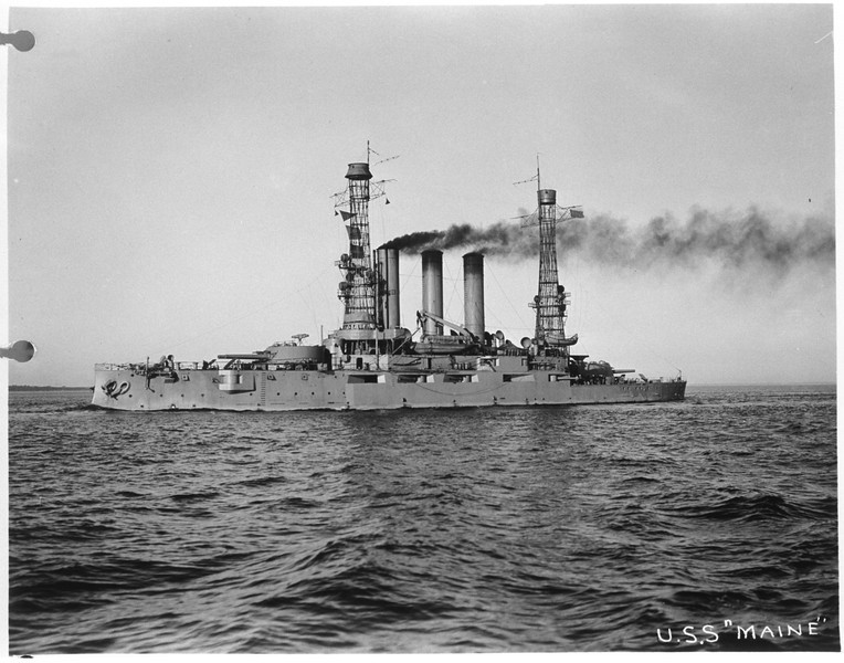 USS Maine (BB-10)<br /> <br /> Date: Unknown<br /> Location: Unknown<br /> Source: William Clarke - National Archives
