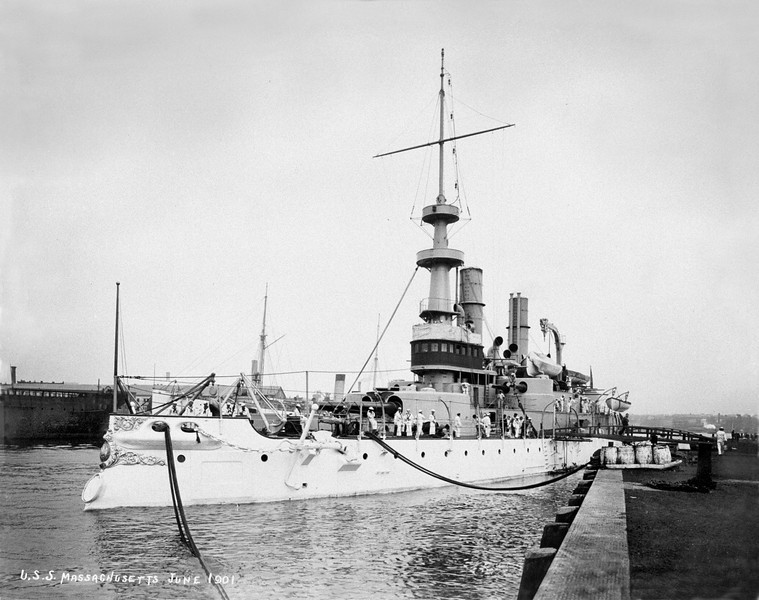 USS Massachusetts (BB-2)<br /> <br /> Date: June 1901<br /> Location: Navy Yard NY<br /> Source: William Clarke - National Archives