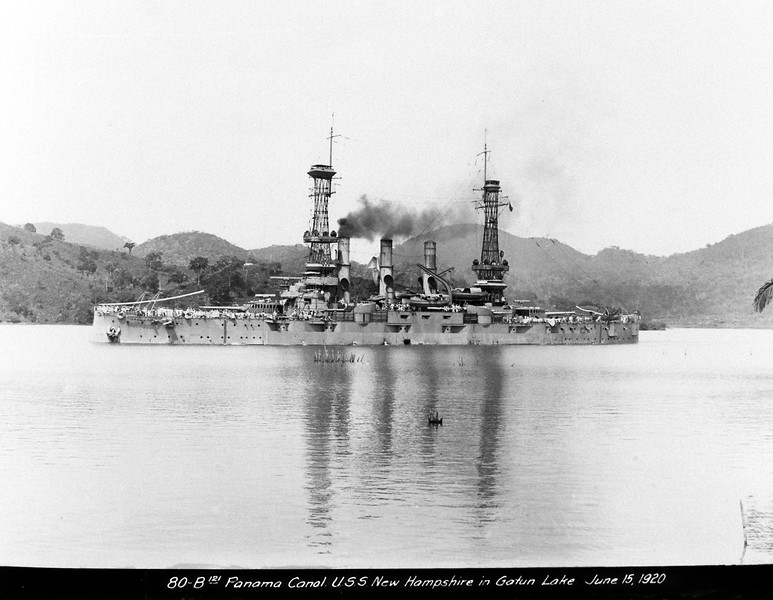 USS New Hampshire (BB-25)<br /> <br /> Date: June 15 1920<br /> Location: Panama Canal<br /> Source: William Clarke - National Archives