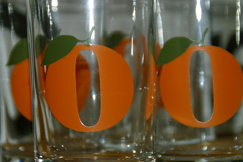 """""""Orange"""" - as luck would have it, a wedding gift showed up this week from one of Brevard's friends.  Glasses for juice.  And guess which kind of juice???"""
