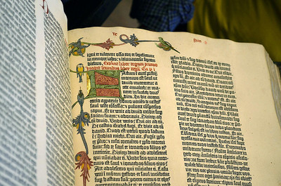 """The Gutenberg Bible, which was printed in Mainz circa 1455-1456 and was the first substantial book to be printed from moveable types in Europe. Forty-nine copies of the estimated 158 or 180 printed survive. The Scheide copy, housed in Princeton University's Scheide Library, printed on paper, originally was sold in the university town of Erfurt, where it was finely illuminated and bound. Its first owner probably was the Dominican convent in Erfurt where the Bible remained until 1873, when it was brought to the United States by collector George Brinley. The invoice from London book dealer Henry Stevens advised Brinley's New York agents to """"let none of Uncle Samuel's Custom House OfficialsÖsee it without first reverentially lifting their hats."""" John Scheide acquired the Bible in 1924."""