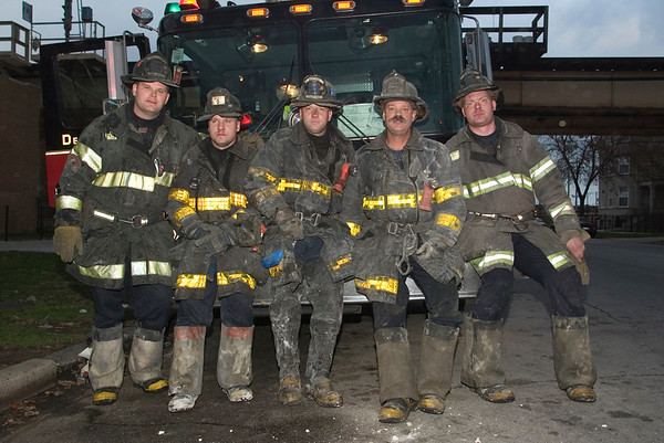 (l-r) Squad 5 Brian McCardle, 5th District Relief Lt. Will Trezek, Squad 5 Corey Hojak, Bobby Smith, and Tommy Meziere