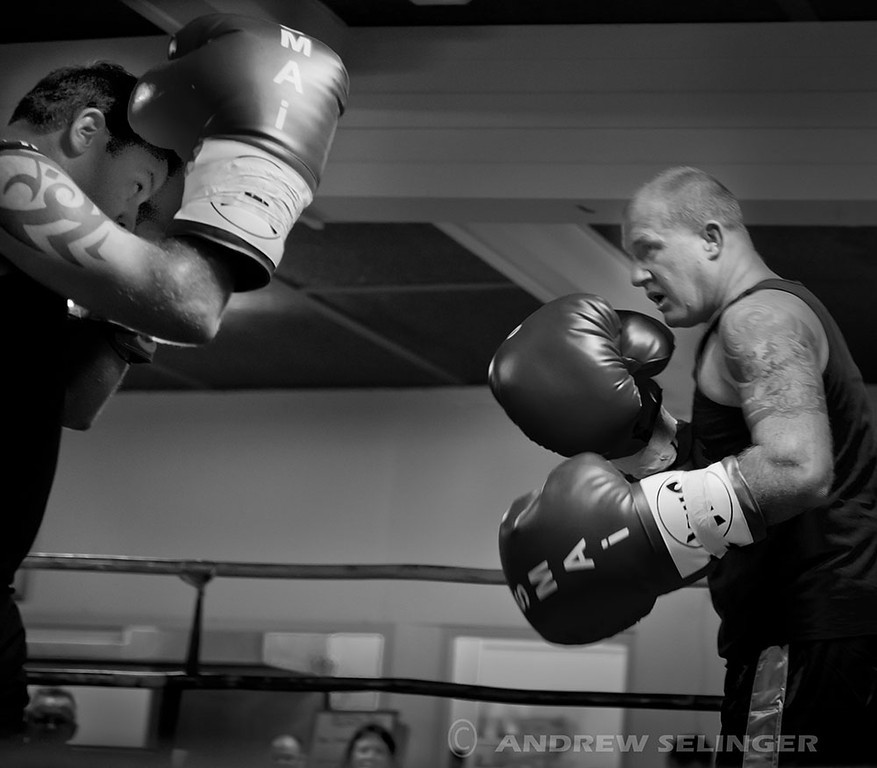 Two heavyweight exhibition fighters, b & w