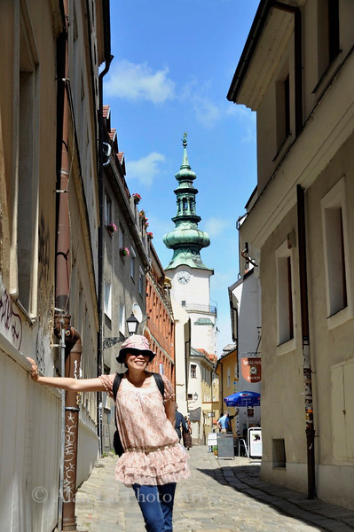 Fanly in Bratislavia old town - what a lovely place!