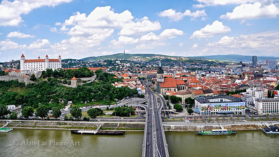 Old town Bratislava viewed from the observation tower.