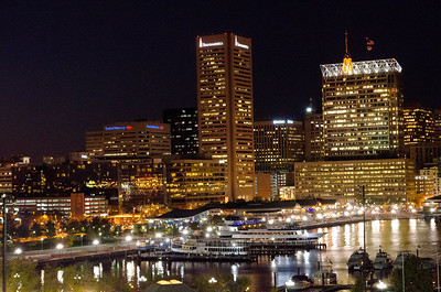 Inner Harbor at night, looking into downtown