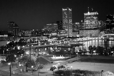 Inner Harbor from Federal Hill in B&W