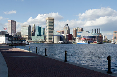 Downtown Baltimore from across the harbor at mid-day