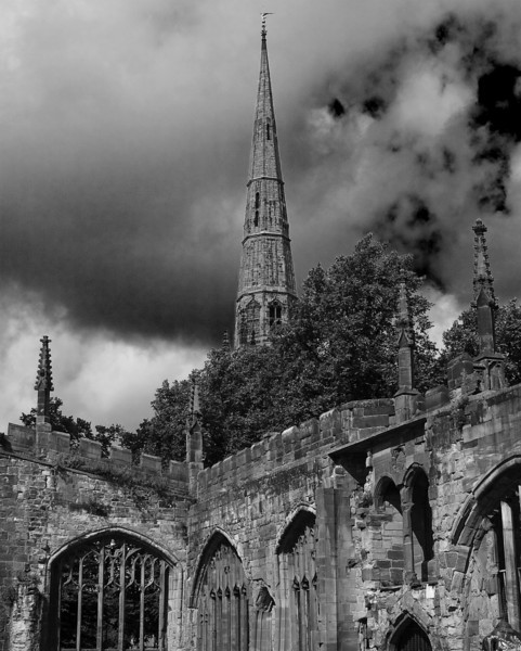 Holy Trinity Church Spire form St. Michael's ruins.  Coventry, England