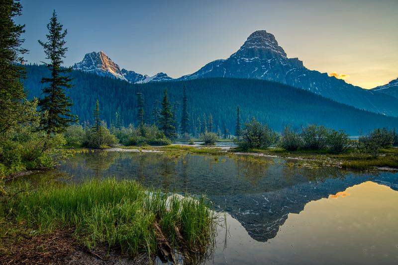 Sunset Reflections | Mt Chephren | Waterfowl Lakes