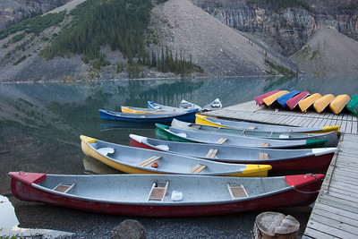 Canoes at Moraine Lake