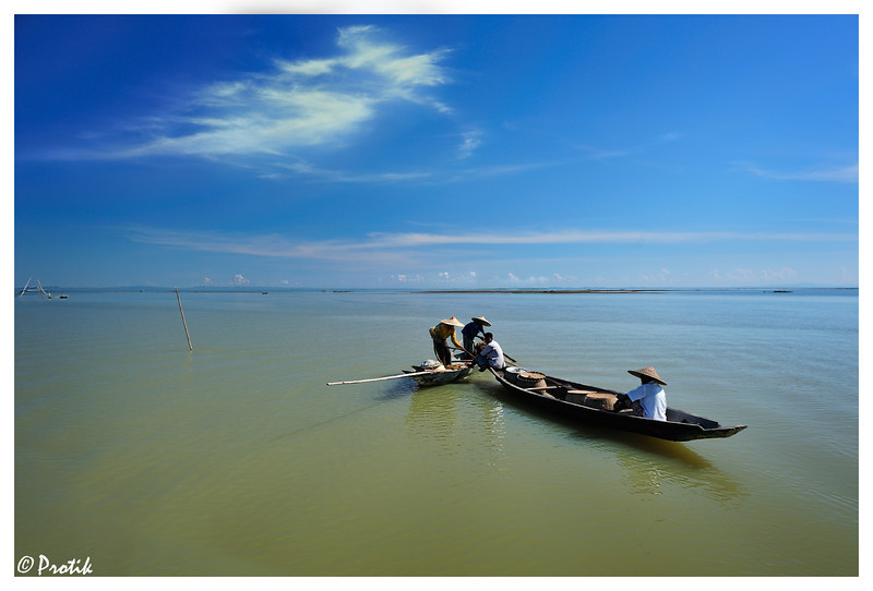 Fishermen at Hakaluki Haor<br /> <br /> Hakaluki Haor is a marsh wetland ecological system of Bangladesh.  It is one of Bangladesh's largest and one of Asia's larger marsh wetland resources with surface area of 181.15km2.