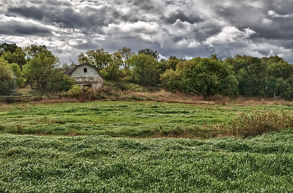 Barn & storm clouds