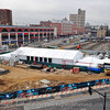 Barclays Arena Groundbreaking 2010. Massive tent erected to protect invitees from protesters.