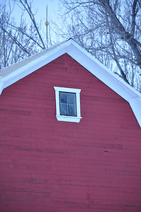 Lightning rod and window detail on red barn in rural Bonneville county, near Idaho Falls, ID. 2.09