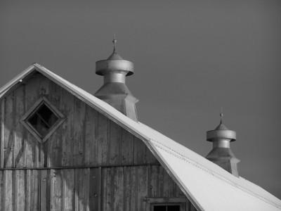 Vents of old barn in Beach, North Dakota